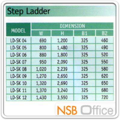 บันไดช่างสำหรับงานหนัก SANKI LD-SKT มีไขว้หลัง (3-20 ขั้น มาตรฐาน มอก.):<p>รับน้ำหนักได้ 150 กก. แข็งแรง มาตรฐานมอก. / มี 18 ขนาด คือ ตั้งแต่ความสูง 3 ฟุต (90 ซม.) ถึง 20 ฟุต (6 เมตร) / ขนาด 3-10 ฟุต มีที่วางเครื่องมือสีส้มด้านบน / ขนาด 11-20 ฟุต เลือกมีหรือไม่มีที่วางเครื่องมือสีส้มได้ ราคาเดียวกัน / ความหนา ขาข้าง 1.5 มม. / ขั้นบันได 1.8 มม. / ขาหลัง 2.0 มม./&nbsp; ถาดสีส้มด้านบน สามารถวางของ หรือเสียบอุปกรณ์ช่างได้ สะดวกต่อการใช้งาน</p>