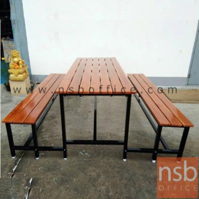 ชุดโต๊ะและเก้าอี้โรงอาหารไม้ระแนง  ขนาด 150W,180W cm.:<p>ชุดโต๊ะโรงอาหารหน้าไม้สักทองดีระแนง ขนาดโต๊ะ 150W*70D*75H cm. และเก้าอี้ ขนาด 150W*30D*45H cm. แบบขาเชื่อมติดกันโดยใช้ก้ามปูยืดติด</p>