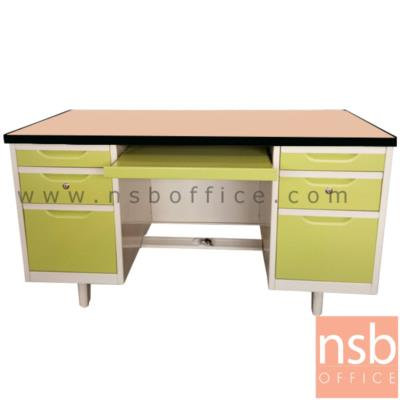 โต๊ะคอมฯเหล็ก 6  ลิ้นชัก 1 รางคีย์บอร์ด 4.5 ฟุต, 5 ฟุต หน้าTOP ไม้เมลามีน  :<p>ผลิต 2 ขนาด คือ 4.5 ฟุต และ 5 ฟุต&nbsp;<span>หน้า TOP ไม้เมลามีน / โครงผลิตจากเหล็ก หนา 0.5 มม. /โครงสีขาวมุก หน้าบานสีสัน มี 3 ลิ้นชักและ 1 รางคีย์บอร์ด / ผลิต5 สีคือ สีขาวมุข ,สีส้ม/ขาวมุข , สีเขียวล้วน , สีน้ำเงินล้วน และสีส้มล้วน&nbsp;</span></p>