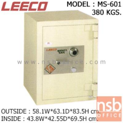 ตู้เซฟนิรภัย 380 กก. ลีโก้ รุ่น LEECO-MS-601 มี 1 กุญแจ 1 รหัส (เปลี่ยนรหัสไม่ได้):<p>ตู้นิรภัยขนาดใหญ่ 1 กุญแจ 1 รหัส ภายในประกอบด้วยลิ้นชักพร้อมกุญแจล็อค มีชั้นวางของปรับระดับสูง-ต่ำได้ คุณสมบัติพิเศษคือขอบตู้หนากว่าทุกรุ่น หน้าบานประตูใช้แผ่นเหล็กหนา 10 มม. ชุดล็อคทำจากเหล็กเพลาตัน/หูบานพับทำจากเหล็กม้วนหนา 8 มม. สีที่ใช้พ่นตู้นิรภัยคือ ประเภทโพลียูริเทน(POLYURETHAN) สามารถกันไฟได้นาน 1 ชั่วโมง **ตัวหมุนสีเงิน ไม่สามารถเปลี่ยนรหัสได้**</p>