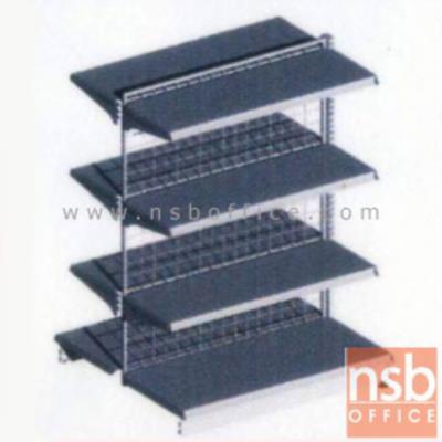 ชั้นเหล็กซุปเปอร์มาร์เก็ต รุ่น FS2-720,NS2-720 (หนา 0.7 mm.) แบบตัวตั้ง และแบบตัวต่อ:<p>ขนาด 90W*90D*150H cm. / ชั้นเหล็กซุปเปอร์มาร์เก็ตวางได้สองด้านมีแผ่นชั้น 4+4 แผ่น สามารถปรับระดับได้&nbsp; มีเหล็กหนา 0.7 มม. / ตะแกรงด้านหลังมีความถี่ ขนาด (50*50 มม.) ขนาดของลวด Di 3 mm. /&nbsp;<span>แผ่นชั้นผลิตสีขาว / โครงเสาผลิต 6 สีคือ สีแดง ส้ม น้ำเงิน เหลือง ขาว และเขียวบางจาก (กรณีต้องการผลิตแผ่น</span><span>ชั้นตามสีโครงเสา สามารถผลิตได้กรณีมีจ</span><span>ำนวนมากกว่า 10 ตัวค่ะ)</span></p>