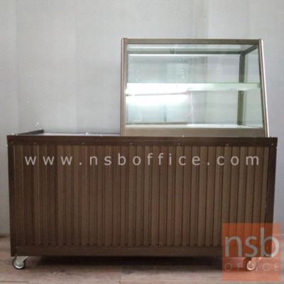 """ตู้กระจกข้าวแกงหน้าเฉียง บานเลื่อน มีแผ่นชั้น โครงอลูมิเนียม  (3,4,5,6 ฟุต *55D*60H cm.):<p>ผลิต 4 ขนาดคือ 3, 4, 5 และ 6 ฟุต (ลึก55*สูง60 ซม.) โครงตู้ผลิตจากอลูมิเนียม ภายในมี 1 แผ่นชั้น แบ่งเป็น 2 ช่องมีพื้นล่างบุด้วยอลูมิเนียมแผ่นเรียบ กันร้อน กันน้ำได้ดี /<span>กระจก</span><span>บานเลื่อนและแผ่นชั้น หนา 5 มิล (1หุนครึ่ง)</span><span>/ กระจกรอบตัวหนา</span><span>3 มิล (1หุน) /</span><span style=""""font-size: 12px;"""">ไม่รวมชุดกุญล้อค<span>/ ผลิตสีขาวและสีชา(เพิ่มฟุตละ 150 บาท) /<span>ลายยี่ห้อบน แผ่นกระจกสามารถลบออกได้ง่าย เพียงใช้น้ำเปล่า (ไม่ต้องใช้น้ำยาพิเศษใดใด)</span></span></span></p>"""