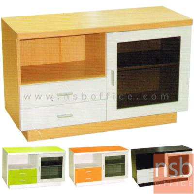 ตู้ไซด์บอร์ดอเนกประสงค์บานเปิดกระจก มี 2 ลิ้นชัก รุ่น TV-EASY-1 :<p>ขนาด 100W*40D*63H cm. ผลิตจากไม้ปาร์ติเกิลบอร์ด TOP ปิดผิวพีวีซี /มี 1 บานเปิดกระจก และ 2 ลิ้นชัก มี 4 สีให้เลือกคือ สีโอ๊ค, สีเมเปิ้ล, สีเขียว และสีส้ม</p>