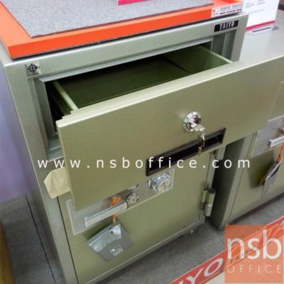 ตู้เซฟแคชเชียร์ TAIYO 193 กก. 2 กุญแจ 1 รหัส   (NS 935 K2C มอก.):<p>TAIYO Deposit NS935 / ตู้เซฟแคชเชียร์ NS935 K2C Deposit Safe 193 กก. / พร้อมลิ้นชักบนเก็บเงินสด แบบกุญแจ แยกอิสระ / ขนาดภายนอก 590*551*935 มม. / ภายใน 450*355*490 มม. /เปลี่ยนรหัสได้</p>