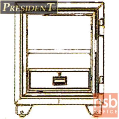 ตู้เซฟนิรภัยชนิดหมุน 110 กก. รุ่น PRESIDENT-SB20 มี 2 กุญแจ 1 รหัส (รหัสใช้หมุนหน้าตู้)   :<p>ขนาดภายนอก 53W*52.3D*67.5H cm. ขนาดภายใน 39.2W*27.5D*46H cm. หน้าบานตู้มี 2 กุญแจ 1 รหัส ภายในมี 1 ลิ้นชักพร้อมกุญแจล็อคแยก และมี1 ถาดพลาสติก /ความจุ 50 ลิต สามารถกันไฟได้นาน 2 ชั่วโมง</p>