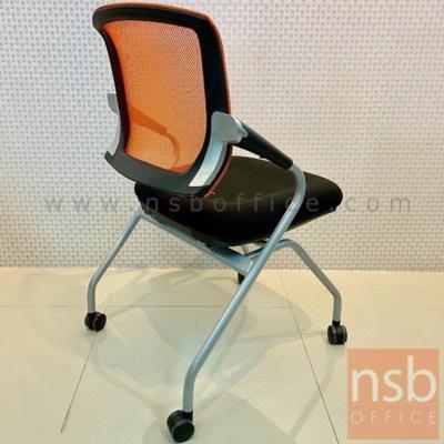 เก้าอี้สำนักงานหลังเน็ต รุ่น JH-BH-08  ขาเหล็กพ่นสีเทาเมทัลลิค :<ul> <li>โครงเก้าอี้ผลิตจากเหล็กพ่นสีเทาเมทัลลิค</li> <li>เบาะนั่งผลิตจากแผ่นไม้ plywood บุฟองน้ำหุ้มผ้าสีดำ พนักพิงระบุสีได้</li> <li>ล้อเลื่อนสามารถเคลื่อนย้ายได้สะดวก</li> <li>ประหยัดพื้นที่ในการจัดเก็บด้วยระบบที่นั่งพับเก็บได้</li> </ul>