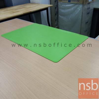 แผ่นยางรองเขียนหน้าโต๊ะทำงาน รุ่นมีร่องวางปากกา (สีดำ น้ำตาล และเขียว):<p>แผ่นเรียบมีขอบสำหรับเกี่ยวขอบโต๊ะ มีร่องสำหรับวางปากกา เหมาะสำหรับโต๊ะทำงาน โต๊ะผู้บริหาร รองหน้าโต๊ะกันรอยขีดข่วนขอเซาะร่อง เมื่อใช้งาน notebook หรือเขียนหนังสือ / ผลิตสี ดำ น้ำตาล และเขียว</p>