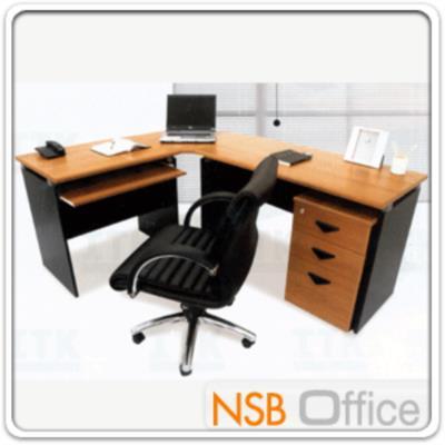 โต๊ะผู้บริหารตัวแอล  รุ่น NOCI  ขนาด 180W1*140W2 cm. เมลามีน:<p>ชุดโต๊ะทำงานตัวแอล ประกอบด้วย โต๊ะทำงานโล่ง 120W*60D cm., โต๊ะคอมพิวเตอร์ 80W*60D cm., แผ่นไม้เข้ามุม R60 cm. (Option: ตู้ลิ้นชัก 3 ลิ้นชักใต้โต๊ะ) / ปิดผิวเมลามีน กันร้อน กันชื้น</p>