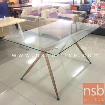 โต๊ะอาหารกระจก ขนาด 150W*90D cm. ขาเหล็กลายไม้:<p>ขนาด 150W*90D*75H cm. หน้าท็อปกระจก โครงขาเหล็กเคลือบลายไม้</p>