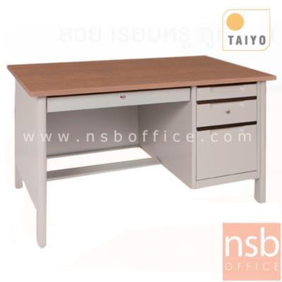 โต๊ะทำงาน 4 ลิ้นชักขากล่อง มือจับอลูมิเนียมพร้อมกุญแจล็อค  รุ่น TTD-40  :<p>ขนาด 120.7W*67D*75H โครงโต๊ะผลิตจากเหล็กหนา 0.6 มม. บังโป๊ด้านข้าง-ด้านหน้าใช้ชิ้นเดียว มือจับผลิตจากอลูมิเนียมระบบ CENTRAL LOCK ใต้โต๊ะติดตั้งปุ่มปรับระดับตามพื้นที่การใช้งาน ขาตรงชิดโต๊ะด้านข้าง หน้า TOP สีเมลามิน ผลิต 2 สีคือ สี Euroline Gray และ สีMagic Strip</p>