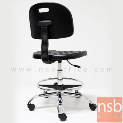 เก้าอี้บาร์สตูลที่นั่งเหลี่ยมล้อเลื่อน รุ่น PL-PL-9002L  โช๊คแก๊ส ขาเหล็กชุบโครเมี่ยม:<p>ขนาด W45*D53*H90 cm มีที่พักเท้า (ปรับระดับได้อิสระ) / ที่นั่ง-พนักพิงพียูโฟม PU Foam ฉีดขึ้นรูปสีดำ นั่งสบายไม่แข็ง /โช๊คแก๊ซปรับระดับ ขาเหล็กชุบโครเมี่ยม แข็งแรง (รุ่นนี้รับประกันเฉพาะโครงขาโครเมี่ยม ส่วนชิ้นพียูโฟมที่นั่งและพนักพิงจำหน่ายแยก)</p>