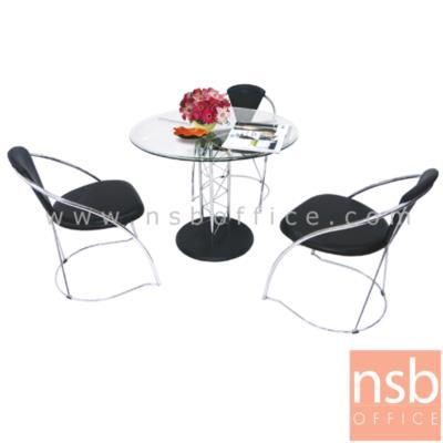 ชุดโต๊ะกระจกกลม 90 ซม.รุ่น MERO/TELI พร้อมเก้าอี้:<p>ชุดโต๊ะกระจกกลม พร้อมเก้าอี้ประกอบด้วย โต๊ะกระจกกลมนิรภัยขนาด 90*90 ซม. /เก้าอี้ขาตัวซี 4 ตัว ที่นั่ง-พนักพิงบุฟองน้ำ ขนาด ก54*ล57*ส76 ซม.โครงเหล็กชุปโครเมียม/รูปแบบทันสมัย สวยงาม</p>