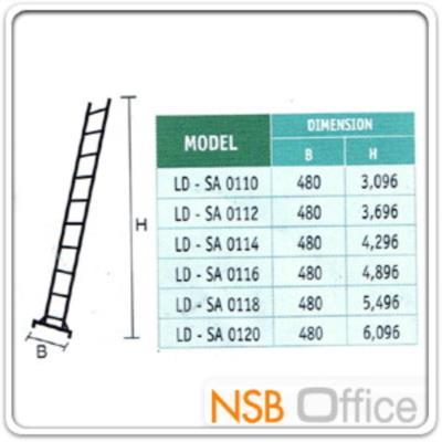 บันไดช่าง กางพาด 1 ตอน SANKI  (10-20 ขั้น ฐานรองใหญ่):<p>มี 6 ขนาดคือ 10 ฟุต (3 ม.), 12 ฟุต (3.6 ม.), 14 ฟุต (4.2 ม.) 16 ฟุต (4.8 ม.), 18 ฟุต (5.4 ม.) และ 20 ฟุต (6 ม.) / ** ความหนา ขาข้าง 1.3 มม. / ขั้นบันได 1.2 มม. / กว้างบน 41 ซม. (ไม่ใช่ 48 ซม.) / ตัวประคอง ข้าง 4.0 มม./เส้นผ่านศูนย์กลางขั้นบันได 3 ซม.</p>