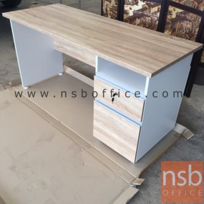 โต๊ะทำงาน 2 ลิ้นชัก รุ่น SR-ND256  ขนาด 120W ,150W ,160W cm.  เมลามีน สีเนเจอร์ทีค-ขาว