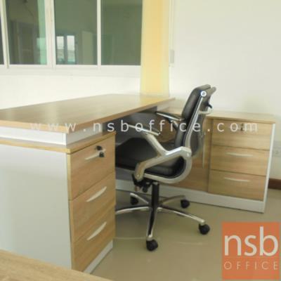 """โต๊ะทำงานผู้บริหารตัวแอล รุ่น TIM-TV0461 ขนาด 160W*140D*75H cm. เมลามีน (พร้อมตู้ข้าง แอลขวา):<p>ขนาดรวม 160W1*140D*75H cm. <span style=""""text-decoration: underline;"""">ผลิตเฉพาะแอลขวาตามรูป</span> / ประกอบด้วย โต๊ะทำงาน 3 ลิ้นชักข้าง พร้อมตู้เอกสาร 1 บานเลื่อนทึบ 3 ลิ้นชักข้าง มีช่องโล่งวางของอเนกประสงค์ / TOP หนา 25 มม. ผิวเมลามีน กันชื้น กันร้อน / ผลิตสีเชอร์รี่ดำ&nbsp; , สีโอ๊ค-ขาว และ สีลาเต้</p>"""