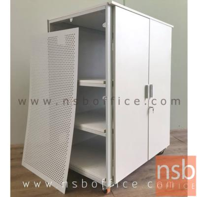 """ตู้เก็บเครื่องมืออุปกรณืไฟฟ้า แบบเคลื่อนที่ได้ ลูกล้อพียู  (รับผลิตนอกแบบ):<p>โครงสร้างผลิตจากเหล็กกล่อง แผ่นชั้นและหน้าบานผลิตจากแผ่นไม้เมลามีน แผ่นข้างผลิตจากเหล็กปั้มรู สามารถสไลด์ขึ้นลงเพื่อให้สะดวกในทำงานเชื่อมต่อสายไฟจากทุกด้านของตู้ และสามารถระบายอากาศได้ดีเมื่อปิดตู้ ด้านหลังแผ่นชั้นสามารถเ<span class=""""text_exposed_show"""">ชื่อมต่อสายไฟถึงกันได้ตลอดความสูงตู้ ลูกล้อพียู สามารถรับน้ำหนัก ได้ถึง 480 kg และสามารถเคลื่อนย้ายได้</span></p>"""