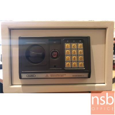 ตู้เซฟดิจิตอล รุ่น SR-ES-700 (1 รหัสกด / ปุ่มหมุนบิด) ขนาด 31W*20D*20H cm.:<p>ขนาด 31W*20D*20H cm. ระบบกุญแจฉุกเฉินกรณีแบตเตอรี่หมด หรือลืมรหัส / มีระบบล็อคอัตโนมัติกรณีกดรหัสผิด 3 ครั้ง ใช้แบตเตอรี่ AA 4 ก้อน</p>