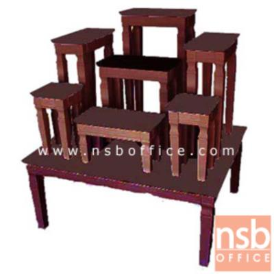 โต๊ะหมู่บูชาหมู่ 7 หน้า 6 นิ้ว รุ่น NT-1007:<p>โต๊ะฐาน ขนาด 78.5W*62D*34H cm. โต๊ะหมู่บูชา 5 โต๊ะ ทำจากไม้ยางพารา ทนทาน สวยงานในการจัดตั้ง / ผลิต 3 สี คือสีโอ๊ค สีขาว และสีขาวโอ๊ค **ขนาดของโต๊ะเล็กดูจากในรูป**</p>