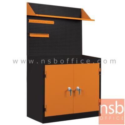 """ชุดตู้เก็บเครื่องมือช่าง 2 บานเปิด 91.6W cm. พร้อมแผ่นท็อป แผ่นชั้น และอุปกรณ์เสริม  :<p>ขนาดรวม&nbsp;&nbsp;91.6W*49.7D*183H cm.1 ชุด ประกอบด้วย ตู้เก็บเครื่องมือช่าง 2 บานเปิด พร้อมแผ่น TOP และชุดตะแกรงเหล็กเจาะรู พร้อมแผ่นชั้นและอุปกรณ์เสริมสำหรับเก็บเครื่องมือ /&nbsp;<span>ผลิตจากเหล็กหนา 0.7 มม. พ่นสีฝุ่นหนา 60 ไมครอน / ทนทานกันสนิม / เหมาะสำหรับการใช้งานในโรงงาน <strong><span style=""""text-decoration: underline;""""><span style=""""color: #ff0000; text-decoration: underline;"""">!!!ฟรี ที่แขวนไขควงและที่แขวนประแจอย่างละ 1 ชิ้น!!!</span></span></strong></span></p>"""