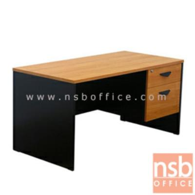 โต๊ะทำงาน 2 ลิ้นชัก  ผิวเมลลามีน (ขนาด 120W และ 150W ซม.):<p>ผลิต 4 ขนาดคือ 120W*60D cm, 120W*75D cm, 150W*60D cm และ 150W*75D cm / สามารถเลือกลิ้นชักซ้ายขวา / TOP หนา 25 มม. ปิดผิวเมลลามีน กันชื้น กันร้อน / มือจับพลาสติก&nbsp;สามเหลี่ยมสีดำ&nbsp;</p>