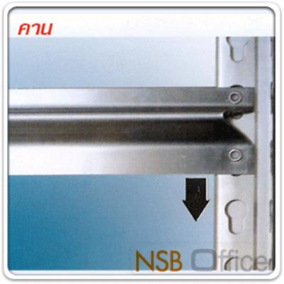 """ชั้นเหล็กสำนักงาน 106W*38D cm. (ทุกความสูง) ระบบ Knock down ประกอบง่าย:<p>ขนาด 42W*15D นิ้ว (106W*38D cm.) ผลิตความสูง 4 ขนาดคือ 36, 55, 72 นิ้ว&nbsp;มีแผ่นชั้นตั้งแต่ 2, 3, 4 และ 5 แผ่นชั้น /โครงพร้อมแผ่นชั้นผลิตเหล็ก เกรดดี /ผลิต 2 สีคือสีดำ และสีขาว&nbsp;ระบบ Knock down ประกอบง่ายไม่ต้องใช้เครื่องมือ /เลือกแผ่นปิดข้าง ปิดหลัง กันตกได้ /&nbsp;<span>ขนาดที่ระบุเป็นขนาดเฉพาะแผ่นชั้น ขนาดพื้นที่ในการจัดวางรวมเสา +2 cm</span></p> <p><br /><span style=""""text-decoration: underline; color: #ff0000;"""">พิเศษ</span> แผ่นชั้นปรับระดับได้ด้วยระบบกระดุมล็อค ไม่ต้องใช้สกรูน็อต /&nbsp;สามารถติดตั้งล้อเพิ่มได้ ดูจากรหัส <a href=""""http://www.nsboffice.com/productdetail-gid-5480.aspx"""">G12A027</a> และ <a href=""""http://www.nsboffice.com/productdetail-gid-5481.aspx"""">G12A028</a></p>"""