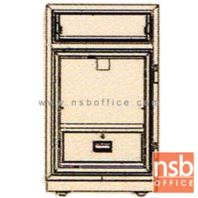 ตู้เซฟแคชเชียร์ 130 กก. ลีโก้ รุ่น LEECO-PD-50 มี 1 กุญแจ 1 รหัส (เปลี่ยนรหัสไม่ได้):<p>ตู้นิรภัย 1 กุญแจ 1 รหัส แบบมีลิ้นชักบน/ล่างบานเปิด เหมาะสำหรับร้านค้าและกิจการทั่วไป ตู้ประกอบด้วยด้านบนมีลิ้นชักพร้อมกุญแจล็อค สามารถบรรจุสิ่งของเข้าไปในตู้โดยไม่ต้องเปิดประตูออก /ด้านล่างมีบานเปิด ภายในมีลิ้นชักพร้อมกุญแจล็อค /ตู้เซฟผลิตจากเหล็กกล้าชนิดพิเศษ ทนต่อการกัดกร่อนและป้องกันการเกิดสนิม สีที่ใช้พ่นตู้นิรภัยคือ สีอะคริลิกแฮมเมอร์ (ACRYLIC HAMMER) สามารถกันไฟได้นาน 2 ชั่วโมง&nbsp;(เปลี่ยนรหัสไม่ได้)</p>