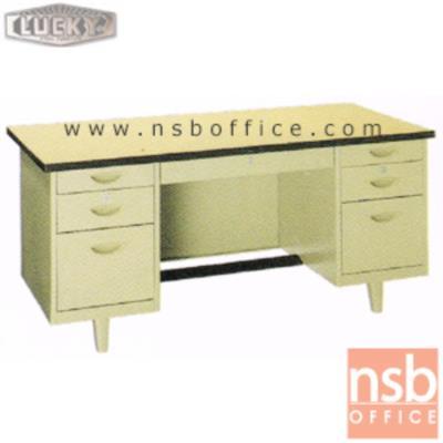 โต๊ะทำงานเหล็กหน้าโฟเมก้า 7 ลิ้นชัก Lucky รุ่น NTN (ผลิต 4.5 , 5 และ 6 ฟุต):<p>สินค้าผลิต 3 ขนาดคือ 4.5 , 5 และ 6 ฟุต ตัวโต๊ะเป็นสีครีมล้วน หน้า TOP โฟเมก้าสีครีม (PP 3737 UN) / มีกุญแจล็อคและที่พักเท้าด้านล่าง *ราคานี้ไม่รวมกระจก*</p>