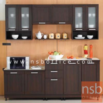ชุดตู้ครัว 210W cm. รุ่น STEP-006 พร้อมตู้แขวน:<p>ขนาดรวม 210W*60W*200H cm. /มี 6ชิ้นประกอบด้วย ตู้ 3 ลิ้นชัก จำนวน 1 ใบ, ตู้ 2 บานเปิดเตี้ย จำนวน 1 ใบ, ตู้ 2 บานเปิด จำนวน 1 ใบ, ตู้แขวน 2 บานเปิดทึบเตี้ย จำนวน 1 ใบ และตู้แขวนบนกระจก-ล่างช่องโล่ง จำนวน 2 ใบ /ปิดผิวด้วยเมลามีน ชนิดพิเศษทนความร้อนสูง ทนต่อรอยขีดข่วน และกรด ด่าง /TOP สีขาว โครงตู้ผลิต 2 สีคือสีบีช และสีโอ๊ค</p>