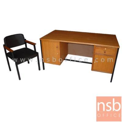 ชุดโต๊ะทำงานพนักงานข้าราชการ ครุภัณฑ์ระดับ 3-6 ขนาด 150W*80D*75H cm. พร้อมเก้าอี้:<p>ชุดโต๊ะทำงานพนักงานข้าราชการ ครุภัณฑ์ระดับ 3-6 / ประกอบด้วย โต๊ะทำงานไม้ขาเหล็ก ขนาด 150W*80D*75H cm และเก้าอี้เบาะบุฟองน้ำ หุ้มหนังเทียม (เก้าอี้กรณีซื้อแยก ราคา 1,050 บาท)</p>
