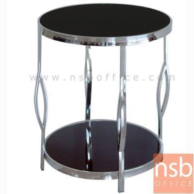 โต๊ะกลมวางข้างโซฟา รุ่น DS-388 ขนาด 50Di* 60H cm. หน้ากระจกสีชา:<p>โต๊ะกลม TOP กระจกสีดำ โครงเหล็กชุบโครเมี่ยม&nbsp;</p>