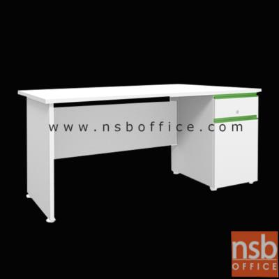 โต๊ะทำงานตู้ลิ้นชัก-บานเปิดด้านขวา รุ่น PLU-KDS-P เมลามีน:<p>ผลิต 2 ขนาดคือ 120W*60D และ 155W*70D (75H) cm. ผลิตจากไม้ปาร์ติเกิลบอร์ด หนา 25 มม. ขาโต๊ะปรับระดับได้ คิ้วมือจับผลิตจากอลูมิเนียมอย่างดี รูปแบบทันสมัย &nbsp;/มือจับรางอลูมินั่ม ผลิต 3 สีคือสีส้ม, สีเขียว และสีบรอนซ์</p>