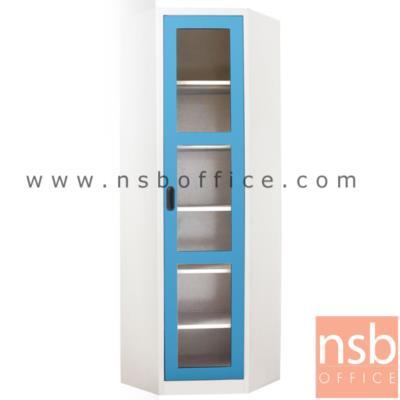 ตู้อเนกประสงค์สูงเข้ามุม สูง 200 ซม. บานกระจก :<p>ขนาด 89W*42.5D*200H cm. ตู้สูงวางหนังสือ 1 บานเปิด สามามารถวางหนังสือหรือของได้ถึง 50 กิโลกรัมต่อชั้น</p>