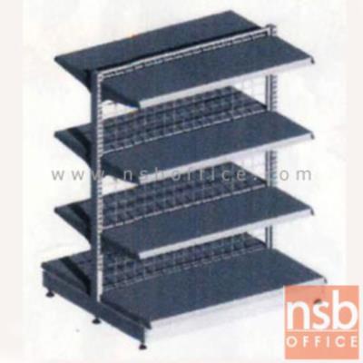 ชั้นเหล็กซุปเปอร์มาร์เก็ต 2 หน้า 4+4 แผ่นชั้น สูง 120 cm.  (หนา 0.5 mm.) แบบตัวตั้ง และตัวต่อ:<p>ขนาด 90W*90D*120H cm. / ชั้นเหล็กซุปเปอร์มาร์เก็ตวางได้สองด้านมีแผ่นชั้น 4+4 แผ่น สามารถปรับระดับได้&nbsp; มีเหล็กหนา 0.5 มม. / ตะแกรงด้านหลังมีความถี่ ขนาด (50*100 มม.) ขนาดของลวด Di 3 mm /&nbsp;<span>แผ่นชั้นผลิตสีขาว / โครงเสาผลิต 6 สีคือ สีแดง ส้ม น้ำเงิน เหลือง ขาว และเขียวบางจาก (กรณีต้องการผลิตแผ่น</span><span>ชั้นตามสีโครงเสา สามารถผลิตได้กรณีมีจ</span><span>ำนวนมากกว่า 10 ตัวค่ะ)</span></p>