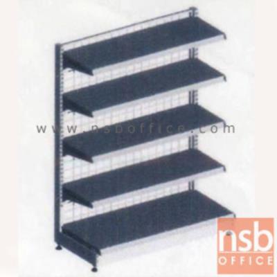 ชั้นเหล็กซุปเปอร์มาร์เก็ต รุ่น FS1-530,NS1-530  (หนา 0.5 mm.) แบบตัวตั้ง และตัวต่อ:<p>ขนาด 90W*45D*180H cm. / ชั้นเหล็กซุปเปอร์มาร์เก็ตมีแผ่นชั้น 5 แผ่น สามารถปรับระดับได้&nbsp; มีเหล็กหนา 0.5 มม. / ตะแกรงด้านหลังมีความถี่ ขนาด (50*100 มม.) ขนาดของลวด Di 3 mm./ แผ่นชั้นผลิตสีขาว / โครงเสาผลิต 6 สีคือ สีแดง ส้ม น้ำเงิน เหลือง ขาว และเขียวบางจาก (กรณีต้องการผลิตแผ่นชั้นตามสีโครงเสา ใช้เวลา 10 วัน)</p>