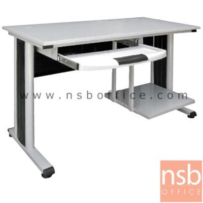 โต๊ะคอมพิวเตอร์ ขนาด 120W*75H cm.  รุ่น N-CT-29  ขาเหล็กทำสีเทาอ่อน:<p>ขนาด 120W*60D cm. Top เมลามีน 19 มม./ คีย์บอร์ดพลาสติก ระบบรางลูกปืนและที่วางซีพียู / โครงขาเหล็กทำสีเทาอ่อน ฝาปิดร้อยสายไฟกลางขาผลิตจากพลาสติกสีดำ</p>