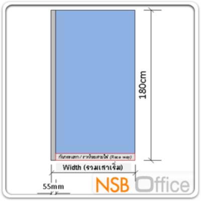 """พาร์ทิชั่นแผงแบบทึบล้วน  รุ่น P-01-NSB  สูง 180 ซม.พร้อมเสาเริ่ม:<p>พาร์ติชั่นแบบผ้าทึบล้วน สูง 180 ซม. มีความกว้าง&nbsp;7 ขนาด คือ 60/80/90/100/120/135 และ150&nbsp;ซม. มี 2แบบคือ แบบมีกล่องร้อยสายไฟและไม่มีกล่องร้อยสายไฟ<span style=""""text-decoration: underline;""""><br /></span></p> <p><span style=""""text-decoration: underline;""""><strong>ข้อมูลเพิ่มเติม</strong></span></p> <ul> <li>กรณีรางล่าง ช่องร้อยสายไฟภายในเสา = 1.6W x 5.2H cm (ร้อยสาย lan ได้ 15 เส้น)</li> <li>กรณีรางกลาง ช่องร้อยสายไฟภายในเสา = 1.6W x 12H cm (ตัดด้วย plasma ขอบอาจไม่ตรงมาก / ร้อยสาย lan ได้ 15-20 เส้น)</li> </ul>"""