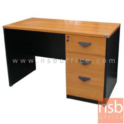 โต๊ะทำงาน 3 ลิ้นชัก รุ่น BO-120 ขนาด 120W cm. เมลามีน:<p>120W*60D*75H cm / เลือกลิ้นชักซ้ายขวา(ลิ้นชักใหญ่ขาทึบ) / TOP หนา 25 มม. ปิดผิวเมลามีน กันชื้น กันร้อน / มือจับพลาสติก สามเหลี่ยมสีดำ</p>