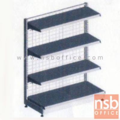 ชั้นเหล็กซุปเปอร์มาร์เก็ต หน้าเดียว สูง 120 cm.  (หนา 0.7 mm.) แบบตัวตั้ง และแบบตัวต่อ:<p>ขนาด 90W*45D*120H cm. / ชั้นเหล็กซุปเปอร์มาร์เก็ตมีแผ่นชั้น 4 แผ่น สามารถปรับระดับได้&nbsp; มีเหล็กหนา 0.7 มม. / ตะแกรงด้านหลังมีความถี่ ขนาด (50*50 มม.) ขนาดของลวด Di 3 mm. /&nbsp;<span>แผ่นชั้นผลิตสีขาว / โครงเสาผลิต 6 สีคือ สีแดง ส้ม น้ำเงิน เหลือง ขาว และเขียวบางจาก (กรณีต้องการผลิตแผ่น</span><span>ชั้นตามสีโครงเสา สามารถผลิตได้กรณีมีจ</span><span>ำนวนมากกว่า 10 ตัวค่ะ)</span></p>