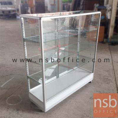 ตู้กระจกโชว์สินค้ามุมมน โครงอลูมิเนียมล้วน สูง 145 ซม. มีล้อ:<p>ผลิต 4 ความกว้างคือ ขนาด 2.5, 3, 4 และ 5 ฟุต (D40*H145 cm) / มี 3 แผ่นชั้น (4 ช่อง)/ โครงเป็นอลูมิเนียมล้วน เสริมคิ้วขาบังล้อ บุโฟเมก้า <span>/&nbsp;</span><span>กระจก</span><span>บานเลื่อนและแผ่นชั้น หนา 5 มิล (1หุนครึ่ง)</span><span>&nbsp;/ กระจกรอบตัวหนา</span><span>&nbsp;3 มิล (1หุน) /&nbsp;</span>ไม่รวมชุดกุญแจและไฟในตู้ /&nbsp;&nbsp;<span>ลายยี่ห้อบน แผ่นกระจกสามารถลบออกได้ง่าย เพียงใช้น้ำเปล่า (ไม่ต้องใช้น้ำยาพิเศษใดใด)</span></p> <p>* ลูกล้อขนาด 2 นิ้ว ล้อเป็น ไม่มีเบรค (ไม่มีที่ล๊อค) *</p>