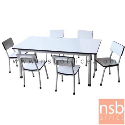 ชุดโต๊ะกิจกรรมอนุบาล โฟเมก้า พร้อมเก้าอี้ 6 ตัว:<p>โต๊ะ 60*120*50 ซม. / เก้าอี้ 25*28*54 ซม.</p>