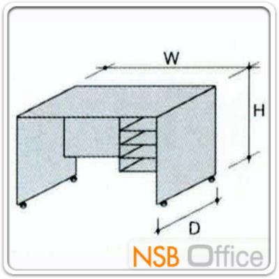 โต๊ะวางพริ้นเตอร์ 4 ช่องโล่ง 100W, 120W (42D*65H) cm ผิวเมลามีน (ใส่ล้อเลื่อนได้):<div> <p>ออกแบบให้เตี้ยกว่าโต๊ะทำงานเล็กน้อย เพื่อให้ใช้งานพริ้นเตอร์สะดวก / ด้านข้างมีช่องวางกระดาษ / ผลิต 4 รุ่นคือ รุ่นขาไม้ 100W*42D*65H,&nbsp;120W*42D*65H และรุ่นล้อเลื่อน&nbsp;100W*42D*65H (สูงรวมล้อ),&nbsp;120W*42D*65H (สูงรวมล้อ)&nbsp;/ ผิวเมลามีน กันชื้น กันร้อน &nbsp;</p> </div>