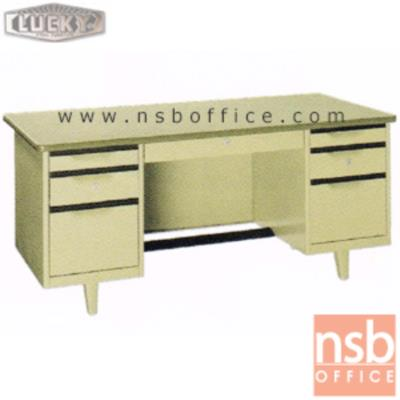 โต๊ะทำงานเหล็กหน้าโฟเมก้า 7 ลิ้นชัก ยี่ห้อ Lucky รุ่น TC (ผลิต 4.5 , 5 และ 6 ฟุต)  :<p>ผลิต 3 ขนาดคือ 4.5 , 5 และ 6 ฟุต / ตัวโต๊ะเป็นสีครีมล้วน หน้า TOP สีเขียวเทา ลามิเนต(PP 5343 UN) / มีกุญแจล็อคและที่พักเท้าด้านล่าง *ราคานี้ไม่รวมกระจก*</p>