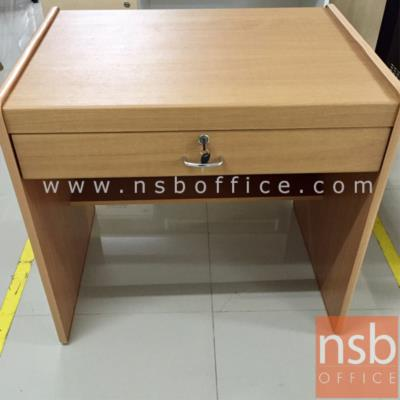 โต๊ะทำงาน 1 ลิ้นชัก   ขนาด 80W cm. พีวีซี:<p>ขนาด W80*60D*75H cm /ผิวพีวีซี ขอบยาง /ความหนา 15 มม. / TOP โต๊ะเบิ้ลขอบเป็น 30 มม.</p>
