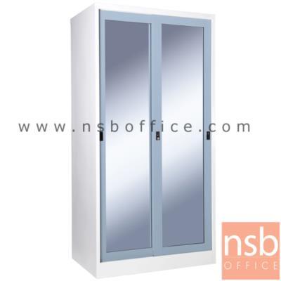 """ตู้เสื้อผ้าเหล็ก บานเลื่อนกระจกสูง 182H cm. WGS-81 (ผลิต 9 สีสัน เลือกกระจกใส/เงา/ฝ้า) รุ่น SGW-18:<p>ขนาด 91.4W*56D*182.9H cm. / มีราวแขวน 1 ชุด แผ่นขั้น 2 แผ่นชั้น / ผลิต 9 สีคือ สีขาวมุก, สีดำ, สีแดง, สีม่วง, สีส้ม, สีฟ้า, สีเขียว, สีเทาฟ้า และลายกราฟฟิคดอกไม้สีส้ม (ราคาเดียวกัน) / เลือกกระจกใส กระจกเงา หรือกระจกฝ้า&nbsp;<span style=""""color: #ff0000;"""">**สินค้าจัดส่งเป็นใบ สินค้าถอดประกอบ<span style=""""text-decoration: underline;"""">ไม่ได้</span>**</span></p>"""
