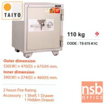 ตู้เซฟบริจาค TAIYO TS675K1C-05 มอก. 110 กก. 1 กุญแจ 1 รหัส (เจาะช่องรับบริจาค 10 cm ด้านบน):<p>ตั้งรหัสใม่เองได้ / มาตรฐาน ม.อ.ก. / ภายนอก 530(W)*470(D)*675(H) mm ภายใน 390(W)*274(D)*460(H) mm / เปลี่ยนรหัสได้ สามารถกันไฟได้นาน 2 ชั่วโมง / มีช่องรับบริจาคใส่เงินด้านบน เหมาะสำหรับศานสถานและองค์กรสาธารณะ</p>