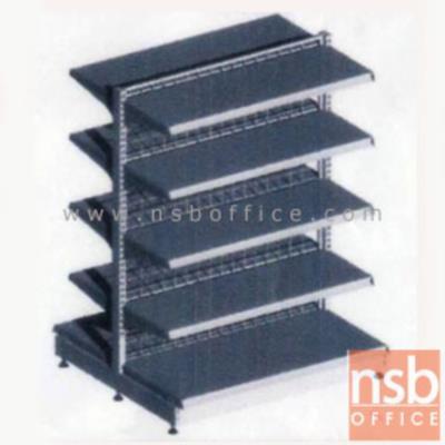 ชั้นเหล็กซุปเปอร์มาร์เก็ต 2 หน้า 5+5 แผ่นชั้น สูง 180 cm.  (หนา 0.5 mm.) แบบตัวตั้ง และแบบตัวต่อ:<p>ขนาด 90W*90D*180H cm. / ชั้นเหล็กซุปเปอร์มาร์เก็ตวางได้สองด้านมีแผ่นชั้น 5+5 แผ่น สามารถปรับระดับได้&nbsp; มีเหล็กหนา 0.5 มม. / ตะแกรงด้านหลังมีความถี่ ขนาด (50*100 มม.) ขนาดของลวด Di 3 mm./&nbsp;<span>แผ่นชั้นผลิตสีขาว / โครงเสาผลิต 6 สีคือ สีแดง ส้ม น้ำเงิน เหลือง ขาว และเขียวบางจาก (กรณีต้องการผลิตแผ่น</span><span>ชั้นตามสีโครงเสา สามารถผลิตได้กรณีมีจ</span><span>ำนวนมากกว่า 10 ตัวค่ะ)</span></p>