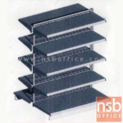 ชั้นเหล็กซุปเปอร์มาร์เก็ต 2 หน้า สูง 180 cm.  (หนา 0.5 mm.) แบบตัวตั้ง และแบบตัวต่อ:<p>ขนาด 90W*90D*180H cm. / ชั้นเหล็กซุปเปอร์มาร์เก็ตวางได้สองด้านมีแผ่นชั้น 5+5 แผ่น สามารถปรับระดับได้&nbsp; มีเหล็กหนา 0.5 มม. / ตะแกรงด้านหลังมีความถี่ ขนาด (50*100 มม.) ขนาดของลวด Di 3 mm./&nbsp;<span>แผ่นชั้นผลิตสีขาว / โครงเสาผลิต 6 สีคือ สีแดง ส้ม น้ำเงิน เหลือง ขาว และเขียวบางจาก (กรณีต้องการผลิตแผ่น</span><span>ชั้นตามสีโครงเสา สามารถผลิตได้กรณีมีจ</span><span>ำนวนมากกว่า 10 ตัวค่ะ)</span></p>