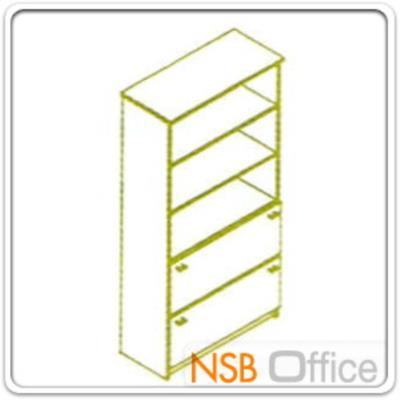 ตู้เอกสารสูง 5 ชั้น บนโล่ง ล่างลิ้นชักใส่แฟ้มแขวน 180H, 200H cm. เมลามีน:<p>ผลิต 2 ขนาดคือ 90W*40D*200H cm. (ด้านบนวางแฟ้มได้ 3 ช่อง) และ 90W*40D*180H cm&nbsp;(ด้านบนวางแฟ้มได้ 2 ช่องครึ่ง)</p>