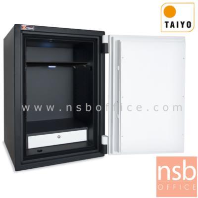 ตู้เซฟ Taiyo Xtreme รุ่นพิเศษ BS 685 K2C น้ำหนัก 400 กก. 2 กุญแจ 1 รหัส:<p>ขนาดภายนอก 59W*51D*68.5H cm. ภายใน 45W*35.5D*54.7H cm. ภ<span>ายในมีแผ่นชั้นLEDปรับระดับได้ และ มีลิ้นชักใส่ของ / ประตูบานด้านหน้าหนา3ชั้น เป็นเหล็กหนา 15 mm. มีแผ่นเหล็กกันเจาะ &nbsp;/ กันไฟได้นาน 2 ชั่วโมง</span></p>