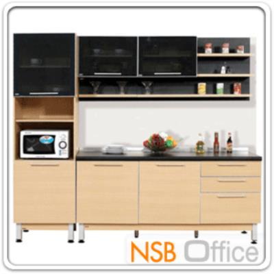 ชุดตู้ครัวสีบีทดำ 240W cm. รุ่น SR-STEP-142 (สำหรับครัวเปียกและครัวแห้ง):<p>ขนาดรวม 240W*60D*200H cm. /7 ชิ้น ประกอบด้วยตู้เคาน์เตอร์ 180 ซม. จำนวน 1 ชิ้น, ตู้แขวนผนังบานเปิดกระจก 2 ชิ้น, ตู้สูงบนกระจก-ล่างทึบ จำนวน 1 ชิ้น, ชั้นแขวนผนัง 2 ชั้น 60 ซม. จำนวน 1 ชิ้น, ชั้นแขวนผนัง 1 ชั้น 60 ซม. จำนวน 1 ชิ้น และชั้นแขวนผนัง 1 ชั้น 120 ซม. จำนวน 1 ชิ้น /โครงตู้ปิดผิวด้วยเมลามีน ชนิดพิเศษทนความร้อนสูง ทนต่อรอยขีดข่วน และกรด ด่าง / บานพับปิดนุ่มนวล</p>